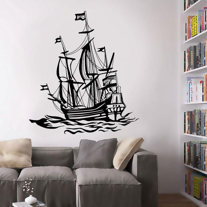 Винтажный морской домашний декор Корабль Парусник Морская Лодка для рыбалки морские волны виниловая настенная наклейка для гостиной мебел...