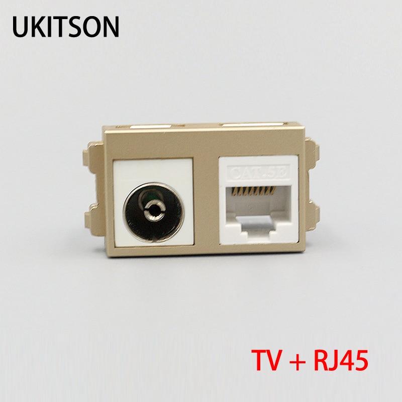 Nuevo Color dorado TV por Cable con CAT5E RJ45 de Internet