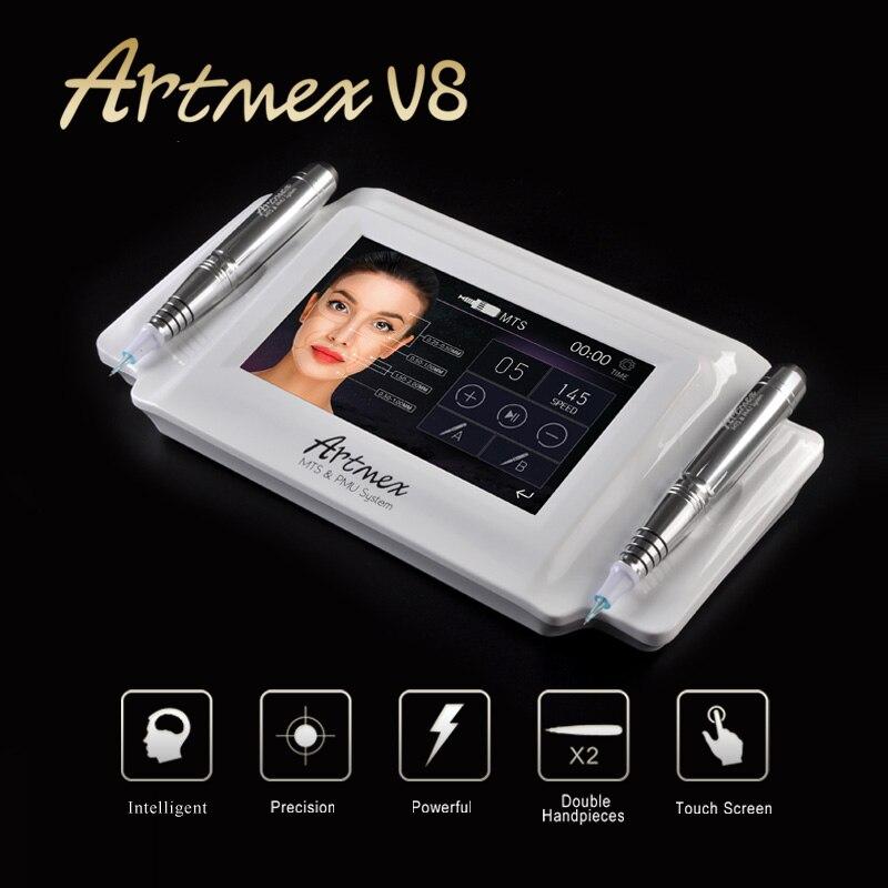Artmex V8 máquina con punta para maquillaje permanente ceja maquillaje & labio rotatorio tatuaje máquina MTS PMU sistema fuerte pluma de Motor pistola