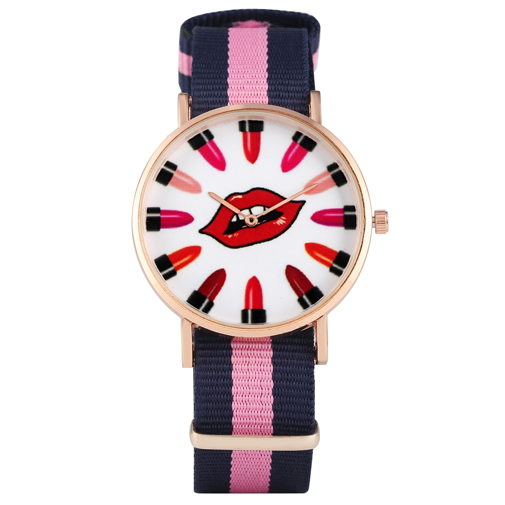 Reloj de pulsera analógico de cuarzo para mujer, reloj con diseño de labial rojo para mujer, relojes con correa de nailon de colores mezclados para mujer