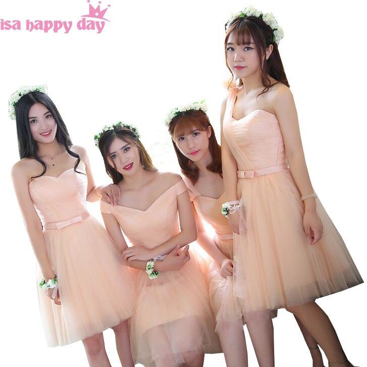 peach color bridesmaid bridemaid one shoulder tulle dress modest bridemaids bridesmaids' short knee-length dresses 2020 B3866
