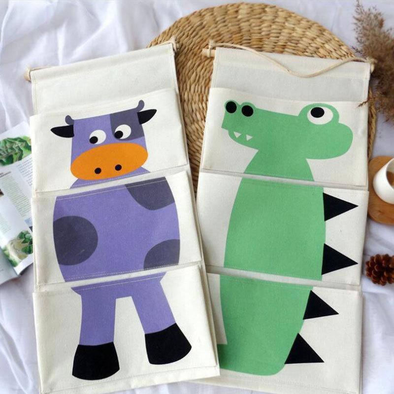Organizador de lino de algodón para colgar en la pared, bolsillo de dibujos animados, bolsas de almacenamiento, bolsillos para cosméticos, recipientes de almacenamiento, bolsas