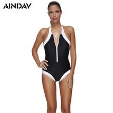 AINDAV Front Zipper One Piece Swimsuit Women Swimwear Vintage Monokini Bathing Suit Bodysuits Black Trikini Swim Suit Plus Size