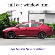 Garniture de fenêtre complète avec pilier central   Accessoires extérieurs de voiture en acier inoxydable, bande de décoration pour n-issan