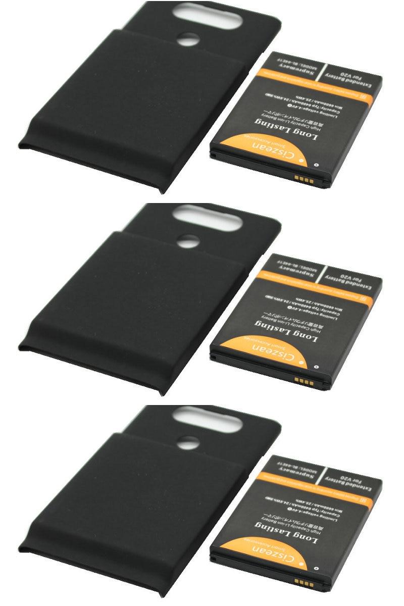 Ciszean 3x 6400mAh BL-44E1F BL44E1F Replacement Extended Battery For LG V20 LS997 VS995 H918 H910 H990 H990N+Back Cover Case