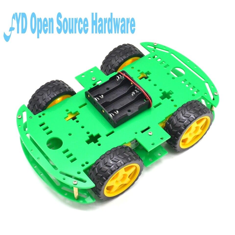 1 unidad de Motor verde Robot inteligente Chasis de coche fabricación electrónica DIY Kit codificador de velocidad caja de batería 4WD 4 ruedas coche