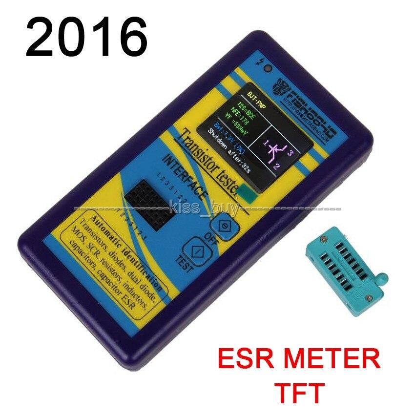 2016 Transistor Tester TFT Diodo Triode de Capacitância ESR LCR Meter NPN PNP MOSFET
