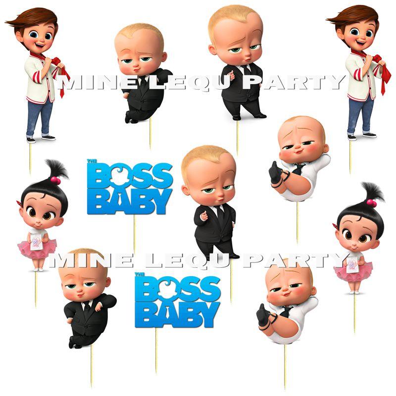 Lote de 12 unidades de Topper Boss para pastel de bebé, Fiesta Temática para bebé, decoración para pastel, suministros para fiesta de Baby Shower