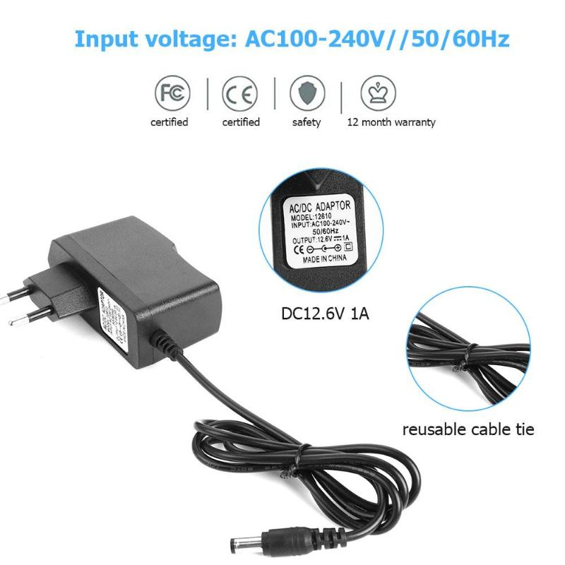 DC12.6V 1A 18650 Lithium Battery Charger 5.5x2.1mm Power Adapter Charger for 18650 18490 14650 14514430  Battery