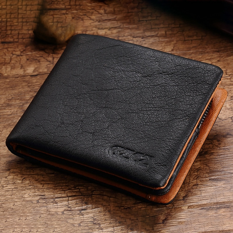 LJL-Gzcz Genuine Leather Wallet Men Coin Purse Card Holder Man Walet Zipper Design Male Ballet Clamp For Money Bag Purse(Blac