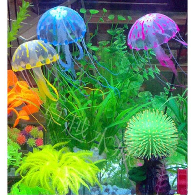 Natación efecto brillante Medusa Artificial acuario decoración tanque de peces bajo el agua planta vivo adorno luminoso paisaje acuático