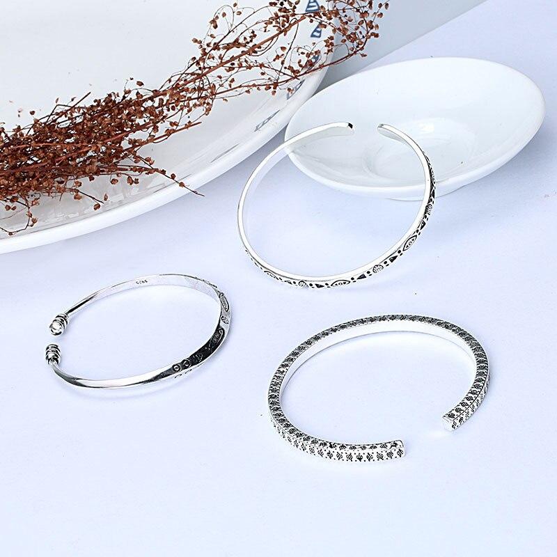 XIYANIKE elaborado tallado patrón 925 plata esterlina varios estilos pescado doble personalizado para usted Vintage pulseras brazalete