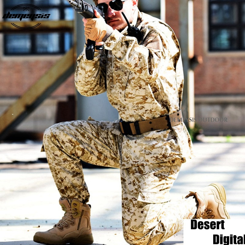 Camouflage Tactical Military Uniform Army Militar Mens Clothing CS Combat Uniform Desert Digital Hunting Clothes Jacket + pants