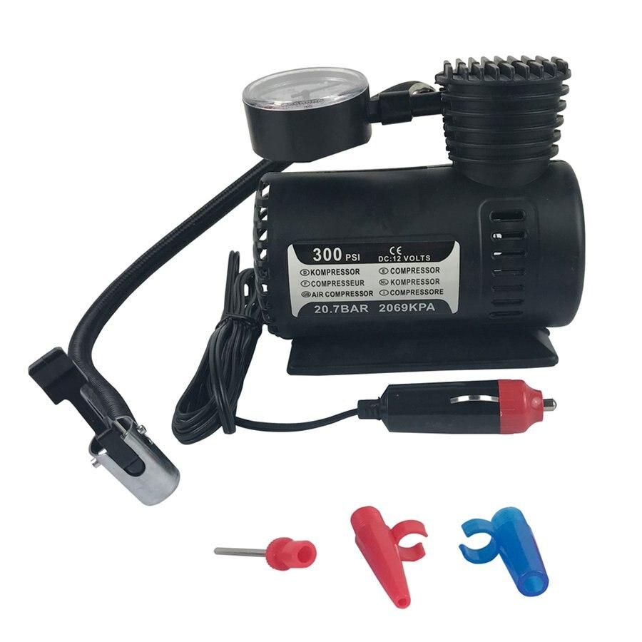 Compressor de ar compacto de fluxo rápido, 12v elétrico mini compressor compacto bomba de ar de bicicleta inflador de pneu 300psi