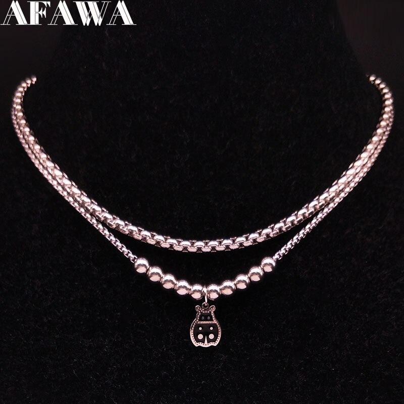 Мода 2020, эмаль божья коровка, нержавеющая сталь, ожерелья для женщин, двойной слой, серебряный цвет, Neckless Jewelry bijoux femme N18427