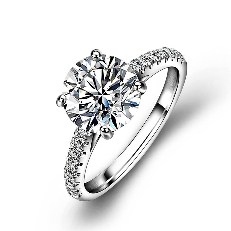 المرأة العصرية خواتم الخطبة مجوهرات أنيقة 4 الشق 18k الأبيض الذهب خاتم جولة شكل مويسانيتي الماس خاتم الزواج