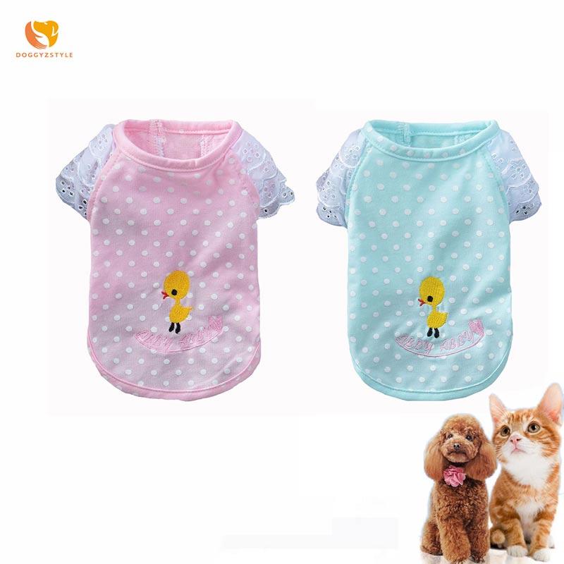 Chaleco de perro Polka Dot pato bordado mascota camisa encaje manguito rotador gato camiseta para Chihuahua Yorkshire ropa de verano DOGGYZSTYLE