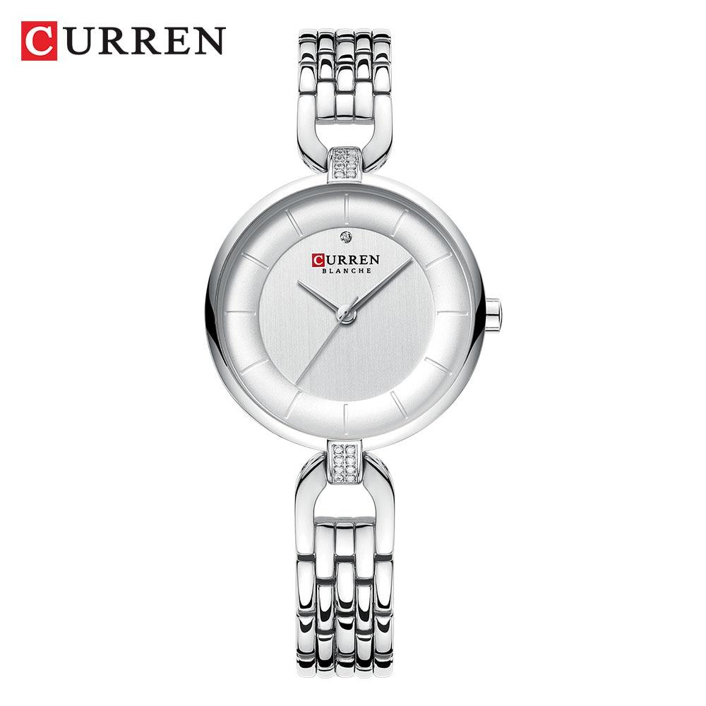 CURREN Lady Watch Slim Mini Silver White Crystal Stainless Steel Strap Quartz Fashion Waterproof Female Watches Relogio Feminin enlarge