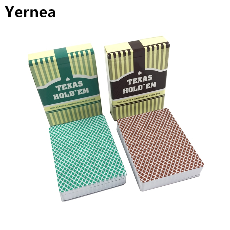Yernea 4Sets/Lot Poker Baccarat Texas Hold'em Plastic Playing Cards Frosting Poker Cards Green And Brown Board Games rye morrison counting cards in texas hold em poker