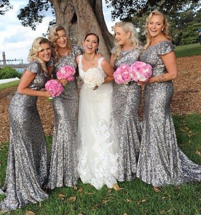 free shipping cap sleeves sequin silver long bridesmaid dresses  2017 new styles size 0 custom make