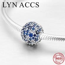 Round shape 925 Sterling Silver deep blue dazzling CZ Fine Clips Lock Beads Jewelry making Fit Original Pandora Charms Bracelet