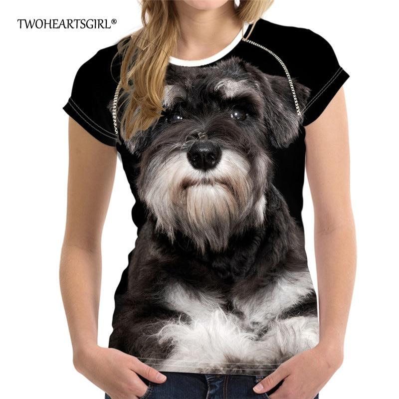 Twoheartsgirl Black Schnauzer Dog T-shirt Summer Tshirt Tops for Women Cute Teen Girls Animal Dog Car T Shirt Novelty Tshirts XL