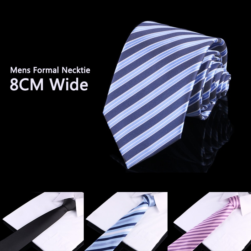 High Quality 8cm Business Ties for Men Fashion Profession Mens Blue Striped Necktie Formal Office Work Wedding Party Neck Tie