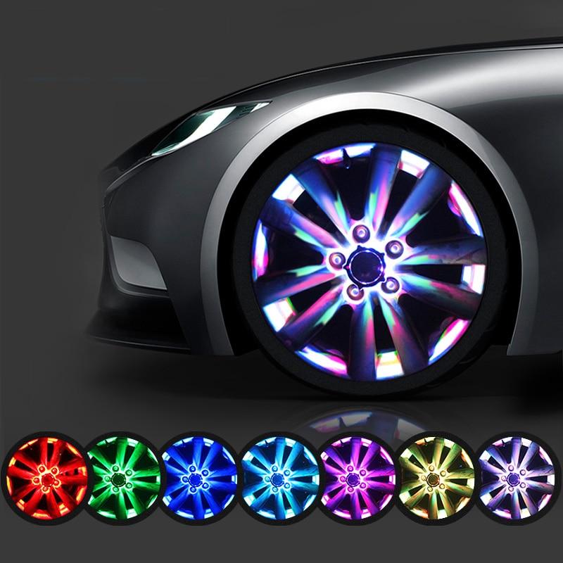 Candy Colors Flash Solar Light RGB LED Lamp Car Styling Refitting Wheel Hub Cap Rim Cool Decoration for BMW Benz VW Audi Toyoto