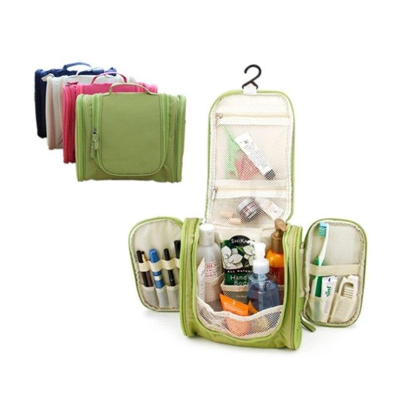 Bolsa de viaje portátil de gran capacidad de poliéster lavado cosméticos bolsas de almacenamiento impermeable al aire libre bolsa de aseo organizador de negocios