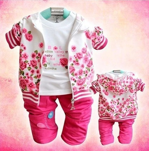 Retail autumn baby Girl's 3pcs Rose flower suits sets custome casual Children's set hoody jacket lon