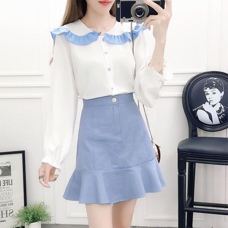 Autumn Women's Suit 2019 New Korean Students Fresh Slim Fashion Long-sleeved Shirt + Skirt Sweet Two-piece
