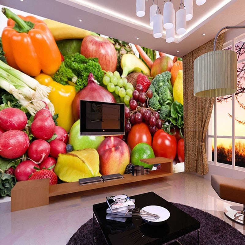 Fresh Fruits Vegetables Grape Banana Pineapple Photo Mural Customized Size Non-woven Paper For Wall Living Room 3D Wallpaper