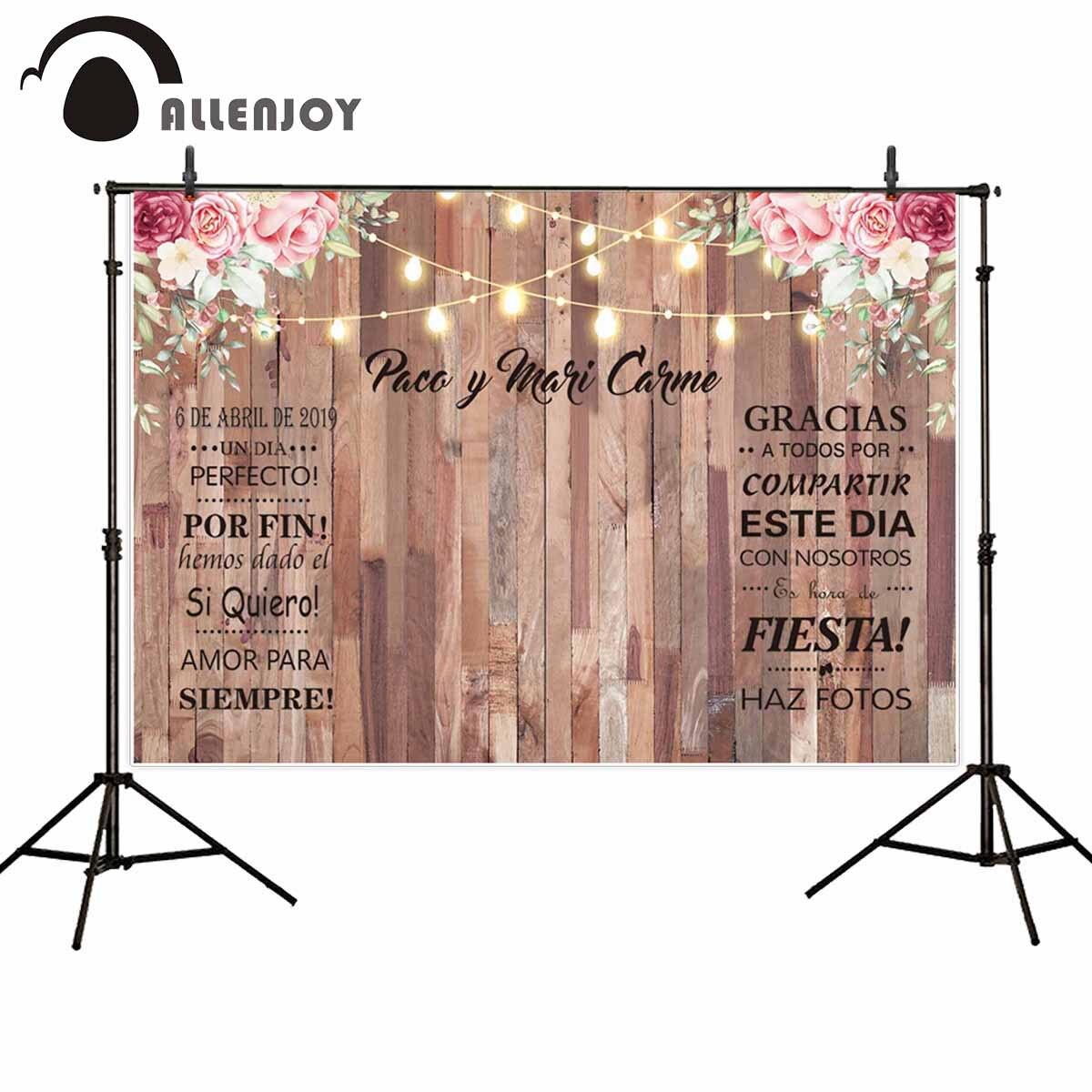 Allenjoy-FONDO PARA FOTOS DE boda, poste de luz de madera, flor brillante,...