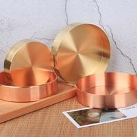 Copper Round Storage Tray Desk Metal Storage Organizer Rose Gold Jewelry Organizer Small Object Storage Dishes Home Decor