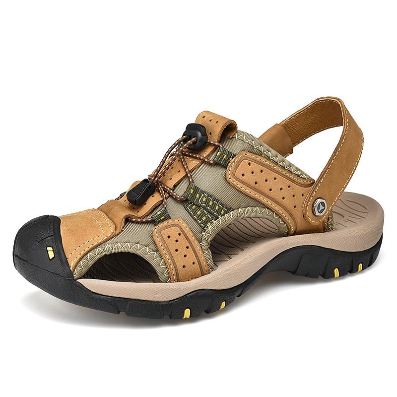 New Fashion Summer Beach Breathable Men Sandals Genuine Leather Mens Sandal Man Causal Shoes Beach Shoes Plus Size 38-47
