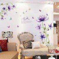Autocollants muraux en fleurs violettes  nouvelle mode  pour salon  3d  DIY bricolage  decoration de maison