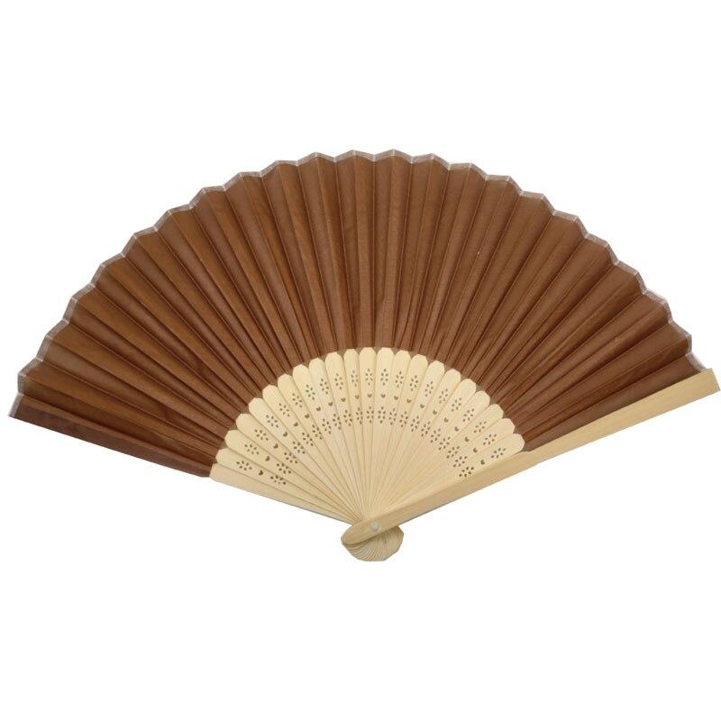 10 Uds abanico de mano de seda marrón café promoción regalos fiesta favor
