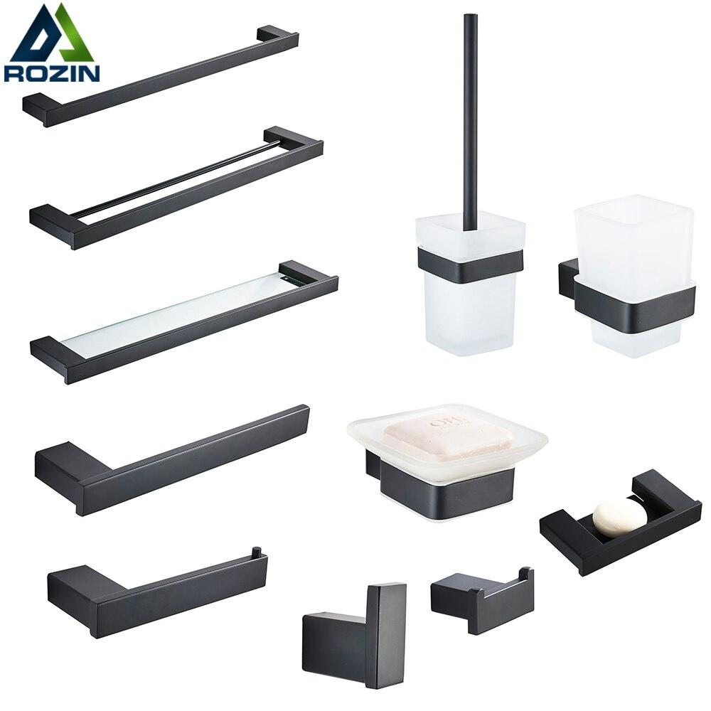Rozin Bathroom Hardware Set Matte Black Paper Holder Towel Rail Rack Robe Hook Toilet Brush Holder Bathroom Accessories