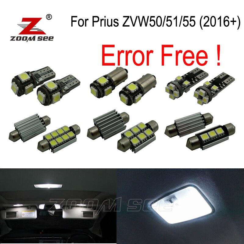 12pcs LED bulb interior dome map lights kit for Toyota for Prius ZVW50 ZVW51 ZVW55 (2016+)