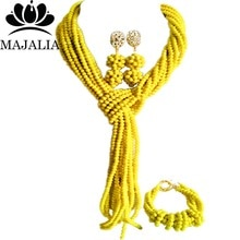 Majalia Classic Nigerian Wedding African Jewelery Set Opaque yellow Crystal Necklace Bride Jewelry Sets Free Shipping 8JU021
