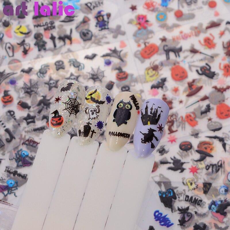 24 feuilles Halloween conception beauté Nail Art autocollants transfert adhésif 3D crâne citrouille araignée Web eau autocollants autocollants
