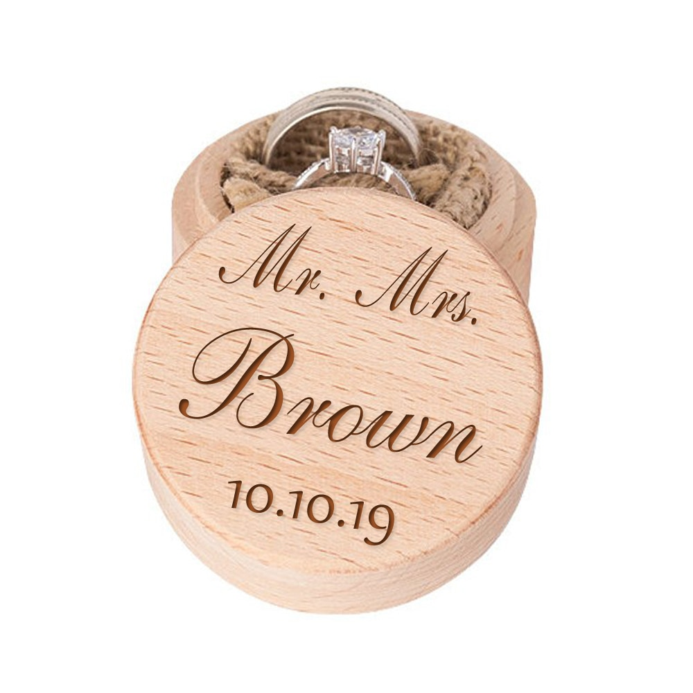 Caja de anillo de compromiso personalizada Mr y Mrs, caja de madera personalizada, almohada de anillo, caja de recuerdo alternativa, soporte de anillo de arpillera Cushi
