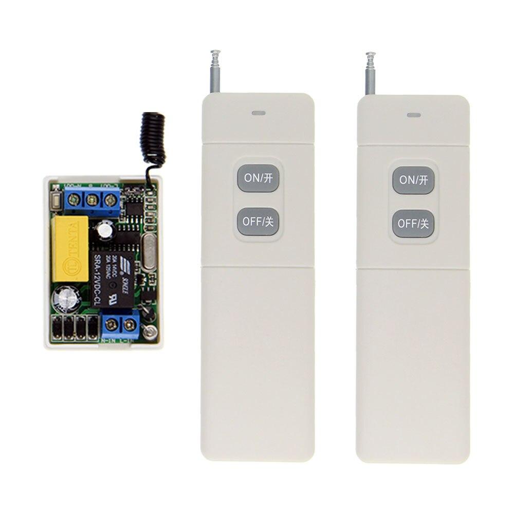 3000m de larga distancia AC 220V 1 CH 1CH relé RF interruptor de Control remoto 2CH transmisor + Mini 10A receptor 315/433, interbloqueo