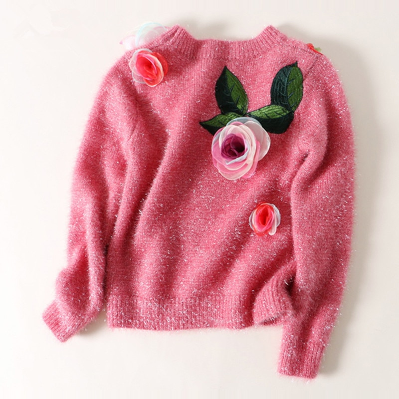 Sweater Cotton Acetate Real New Arrival And Pullovers 2020 Spring Knitting Hedging Three-dimensional Embroidered Personality enlarge