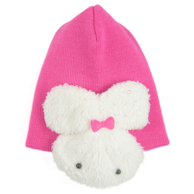 Gorro de invierno para niña, gorro de punto de algodón cálido para niños de 4 a 36 meses, gorros con forma de conejo para niños y niñas