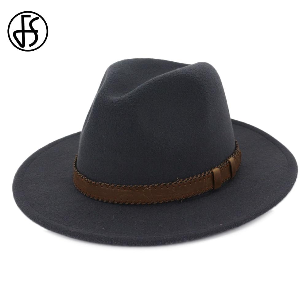 FS Gray Pink Felt Hat Men Fedora With Belt Women Vintage Trilby Caps Cotton Warm Jazz Chapeau Femme Wide Brim Hat Autumn Winter