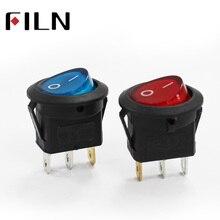 FILN KCD1 24v 110v 220v rojo azul plateado contacto impermeable interruptor de palanca redonda de plástico 3 pines on off boat rocker switch
