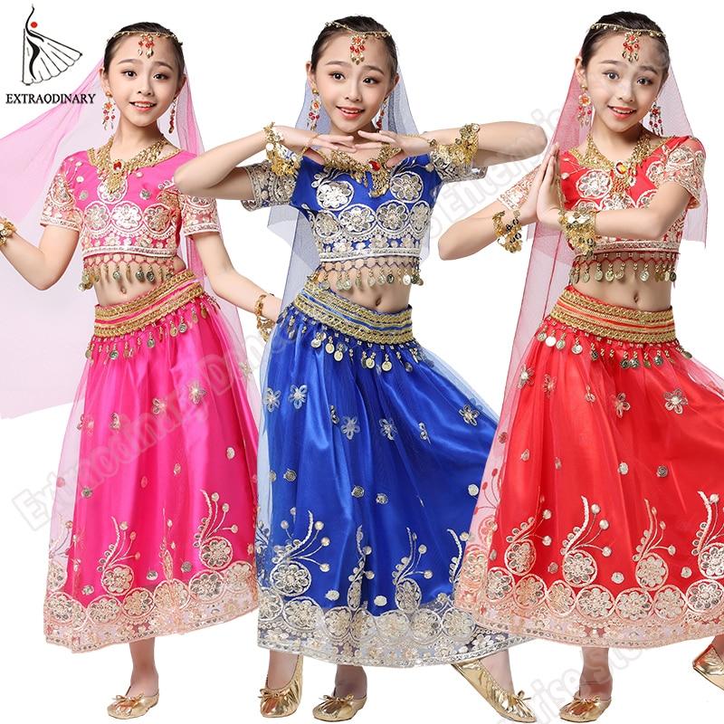 الفتيات ملابس رقص بوليوود مجموعة الاطفال الرقص الشرقي الهندي ساري الأطفال الشيفون الزي هالوين أعلى حزام تنورة الحجاب خوذة