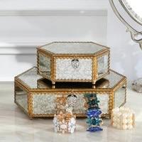 metal glass storage box jewelry box bedroom dressing table decoration creative jewelry box