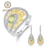 gems ballet 1 89ct natural peridot gemstone sunflower jewelry set original 925 sterling silver ring earrings sets for women